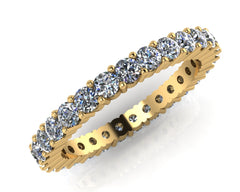 18ct Yellow Gold Radial Four-claw Brilliant-cut Diamond Full Eternity Ring 1.20ctF/VS Certed
