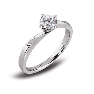 Platinum Twist 4 x Claw Brilliant-cut Diamond Ring