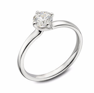 Platinum Four Claw Brilliant-cut Diamond Twist Ring - Andrew Scott