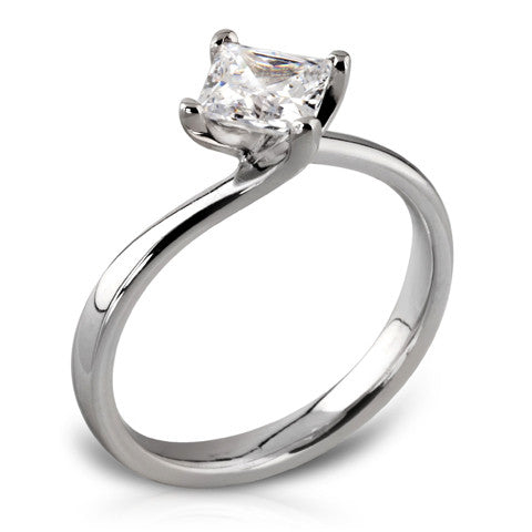 Platinum Four Claw Twist Ring Featuring Princess Cut Diamond - Andrew Scott