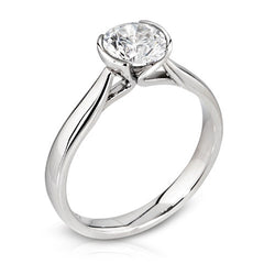 Platinum Demi-Cabouchon Brilliant Cut Diamond Ring 0.25ct D-G/VS Certed