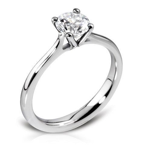 Platinum Four Claw Open Shoulder Ring Featuring Brilliant Cut Diamond - Andrew Scott