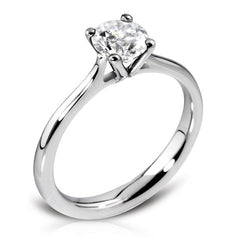Platinum Four Claw Open Shoulder Ring Featuring Brilliant Cut Diamond 0.52ct F/VS2 GIA Certed