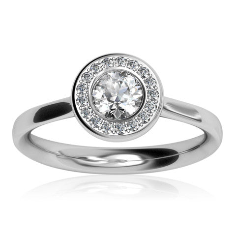 Platinum AURA Brilliant-cut & Pavé Diamond Ring - Andrew Scott
