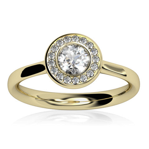 18ct Yellow Gold AURA Brilliant-cut & Pavé Diamond Ring - Andrew Scott