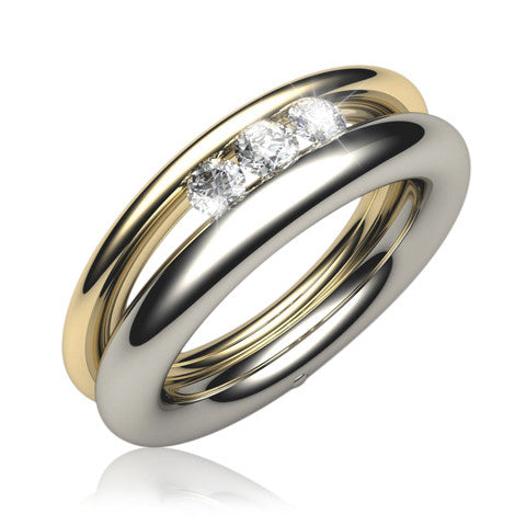 18ct Gold GEMINI Brilliant-cut Diamond Trilogy Ring - Andrew Scott