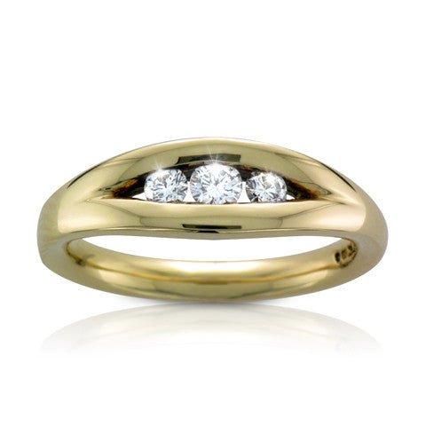 18ct Yellow Gold EMBRACE 3 x Brilliant-cut Diamond Certed Trilogy Ring - Andrew Scott