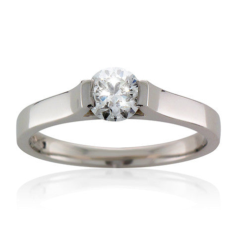 Platinum TRAPEZE Brilliant-cut Diamond Engagement Ring
