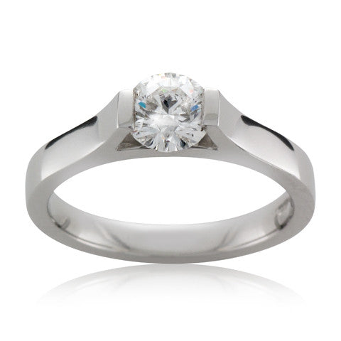 Platinum TRAPEZE Brilliant cut Diamond Engagement Ring - Andrew Scott
