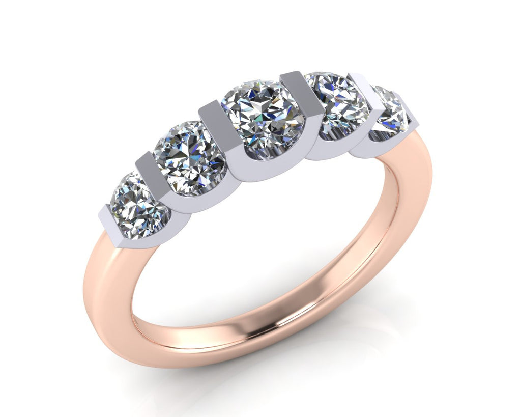 Platinum & 18ct Rose Gold Diamond DEMI-TRAPEZE Ring - Andrew Scott