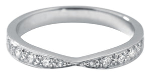 Platinum Pave-set Diamond Tapered Half Eternity Ring