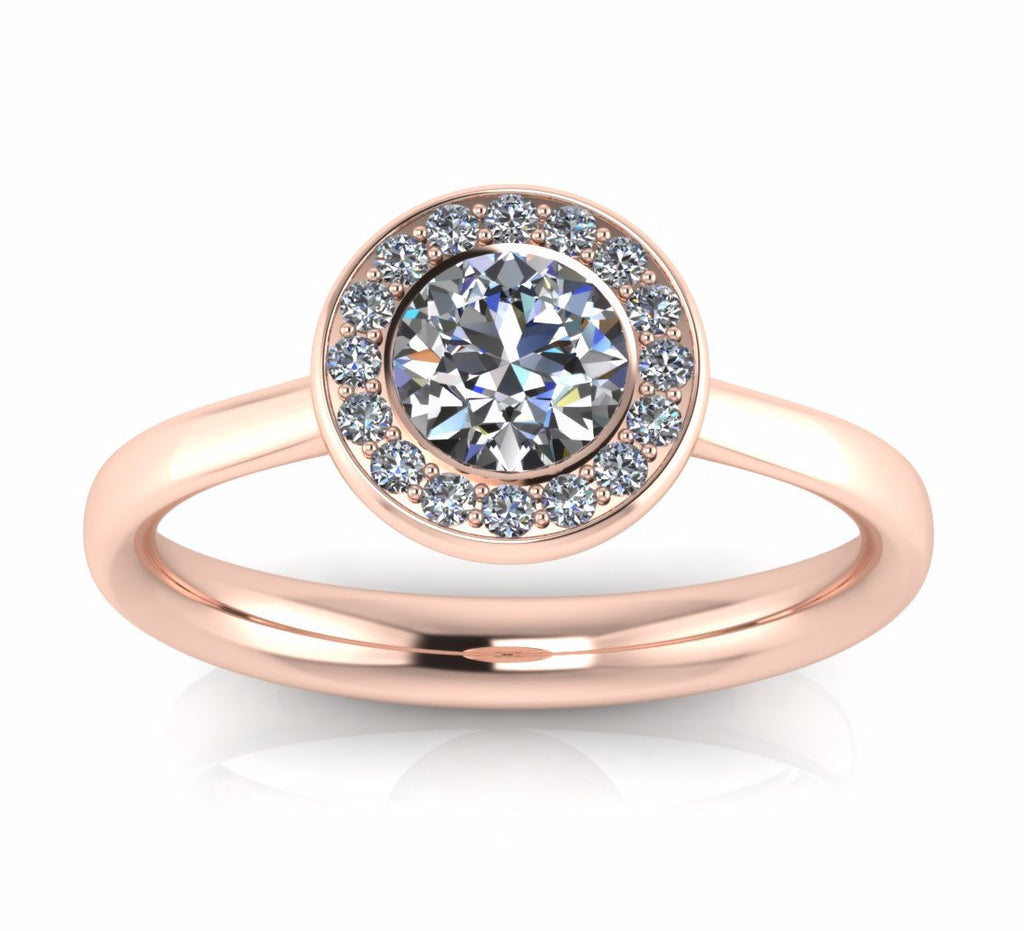 18ct Rose Gold AURA Brilliant-cut & Pavé Diamond Ring - Andrew Scott