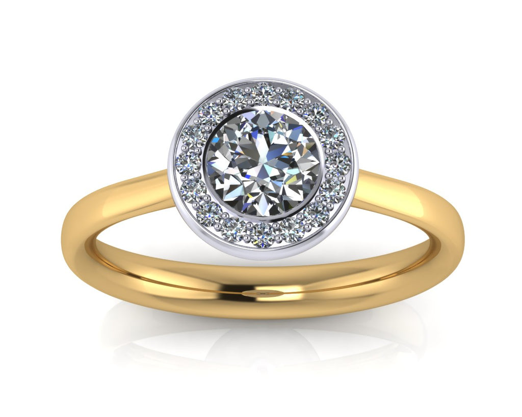 18ct Yellow Gold & Platinum AURA Brilliant-cut & Pavé Diamond Ring - Andrew Scott