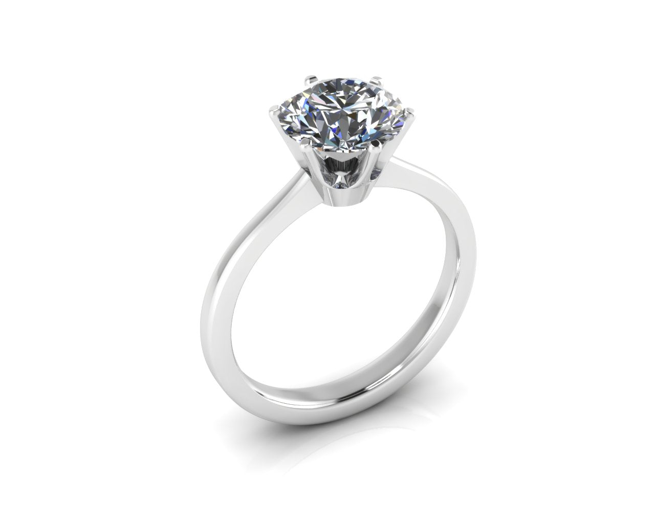 18ct White Gold Six-Claw Brilliant Cut Diamond Ring - Andrew Scott