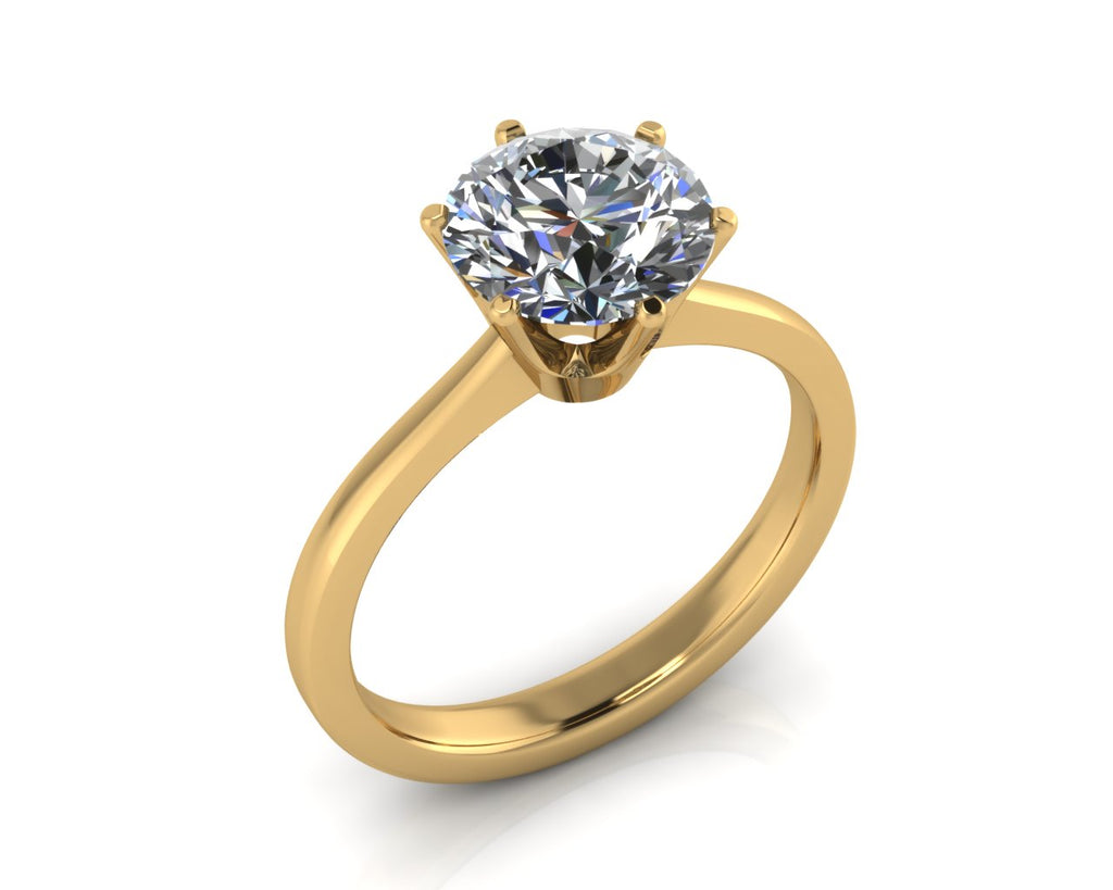 18ct Yellow Gold COURONNE Brilliant Cut Diamond Ring - Andrew Scott