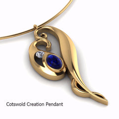 Yellow Gold Cabouchon Sapphire & Diamond Cotswold Creation Pendant