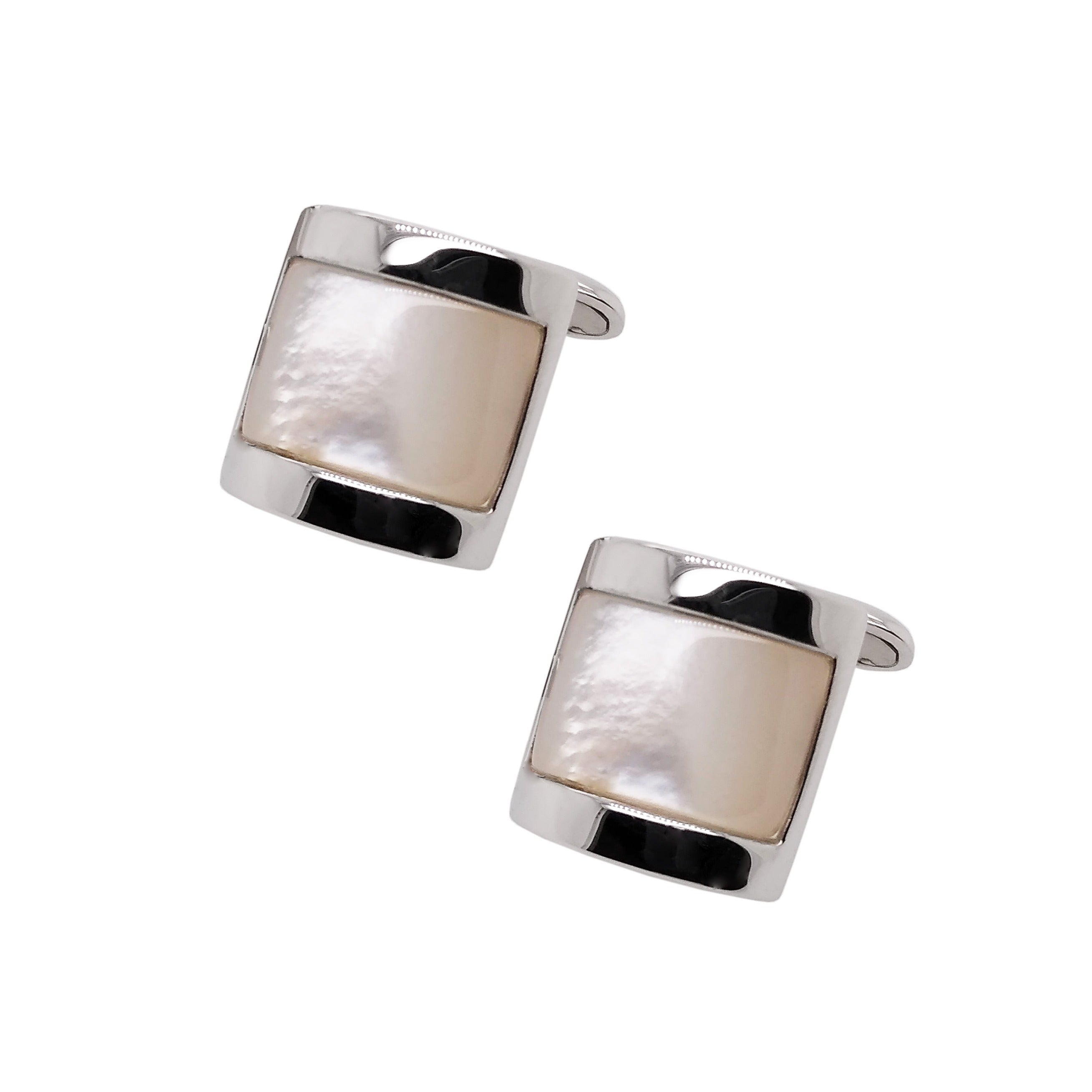 Silver Domed Mother of Pearl Cufflinks