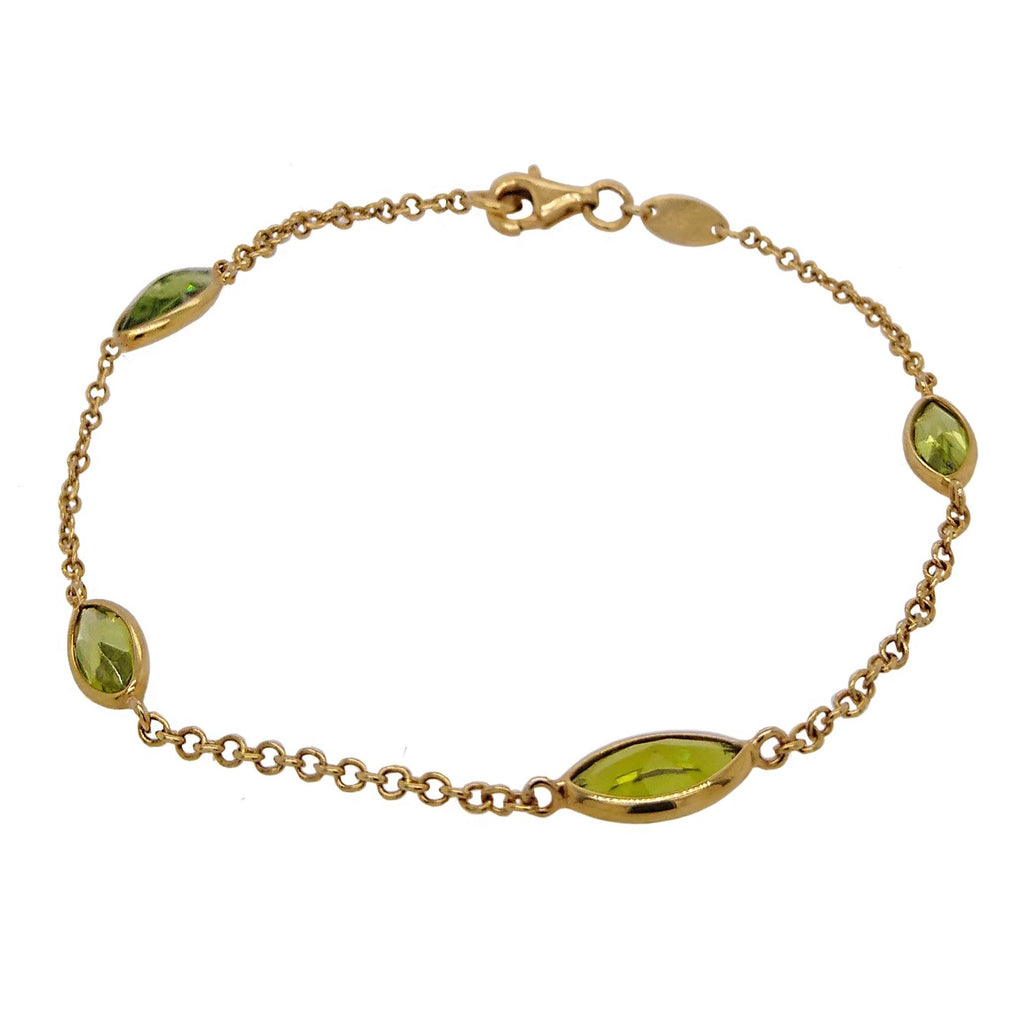 9ct Yellow Gold Marquise Peridot Bracelet
