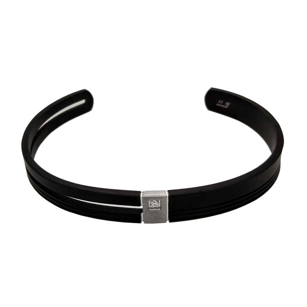 Men's Titanium Black IP Plated & CZ Torque Bangle