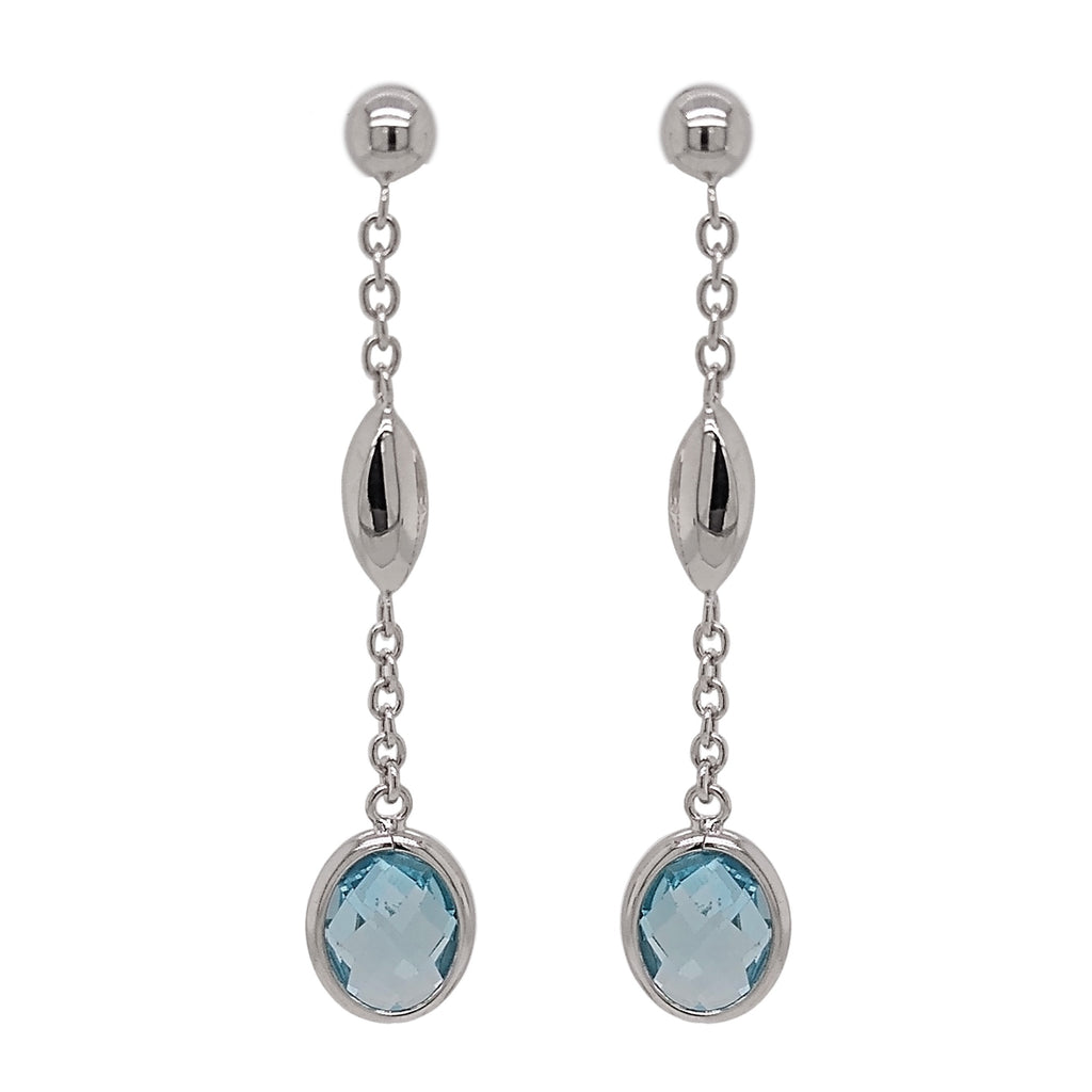 9ct White Gold Blue Topaz & Marquise Bead Drop Earrings