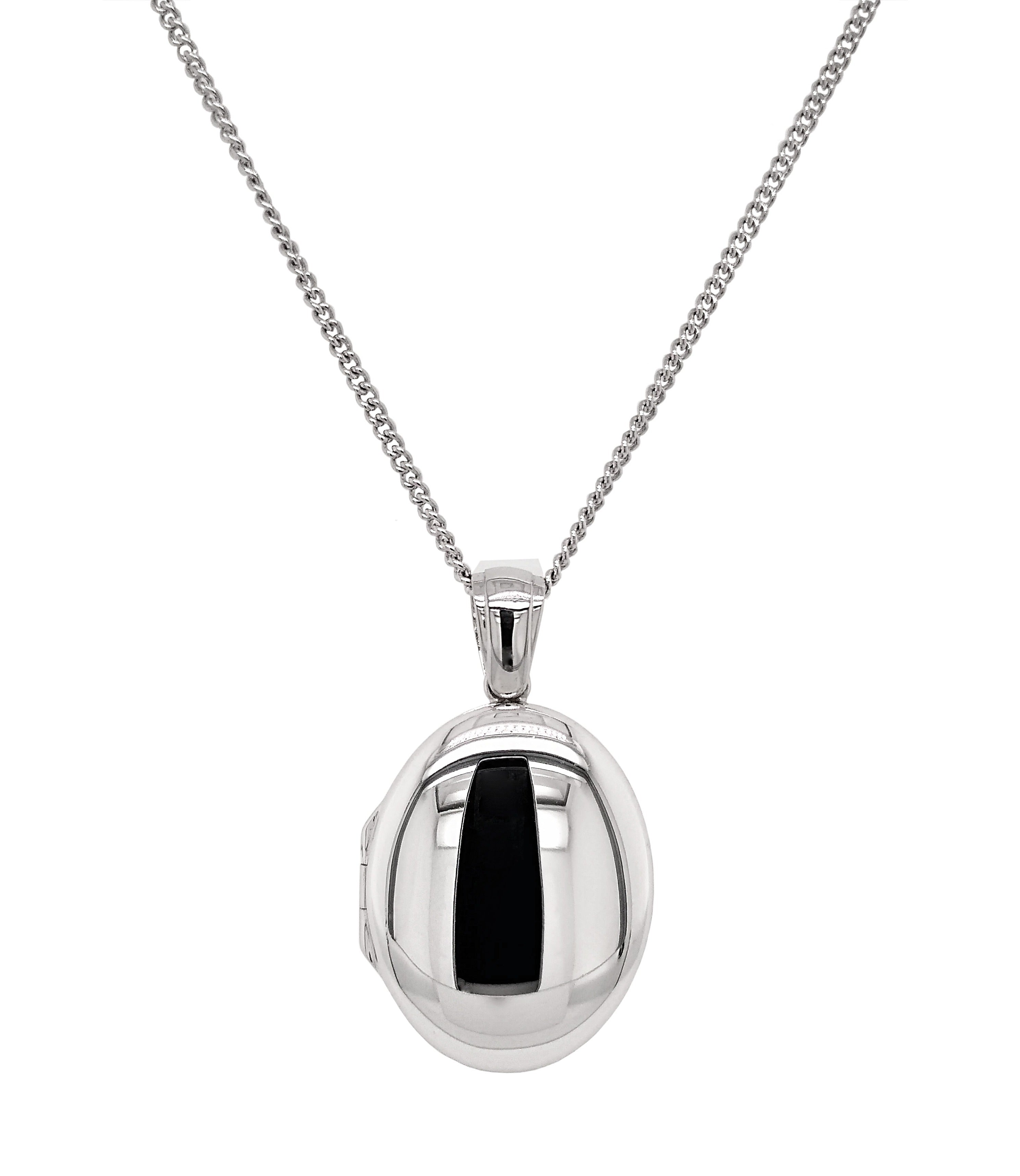 9ct White Gold Medium Oval Locket & Chain