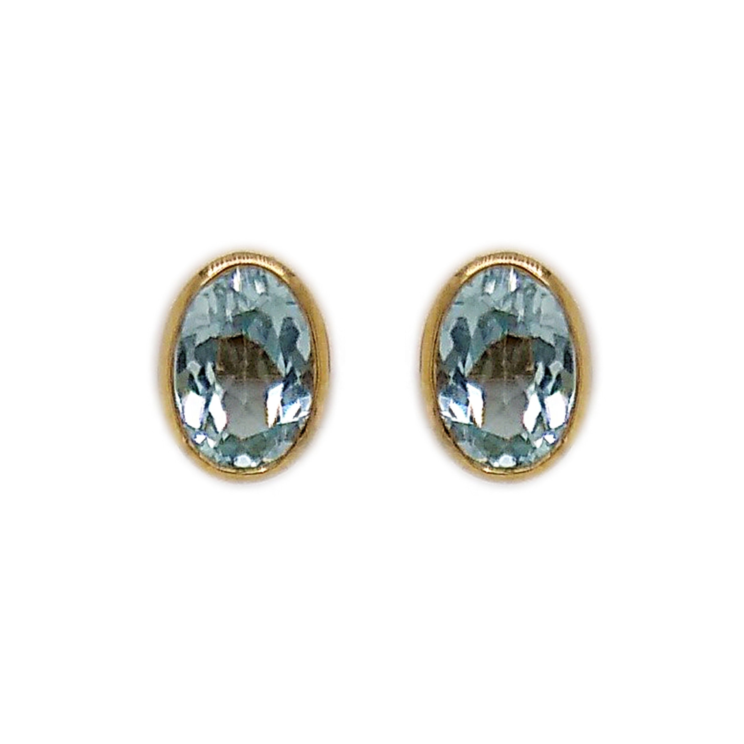 9ct Yellow Gold Oval Blue Topaz Stud Earrings