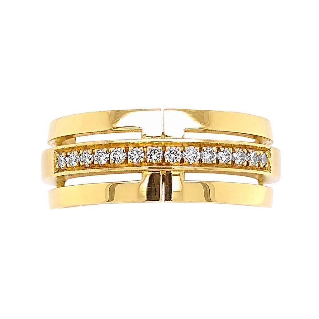 18ct Yellow Gold Pave-Set Diamond Cut-out Design Ring