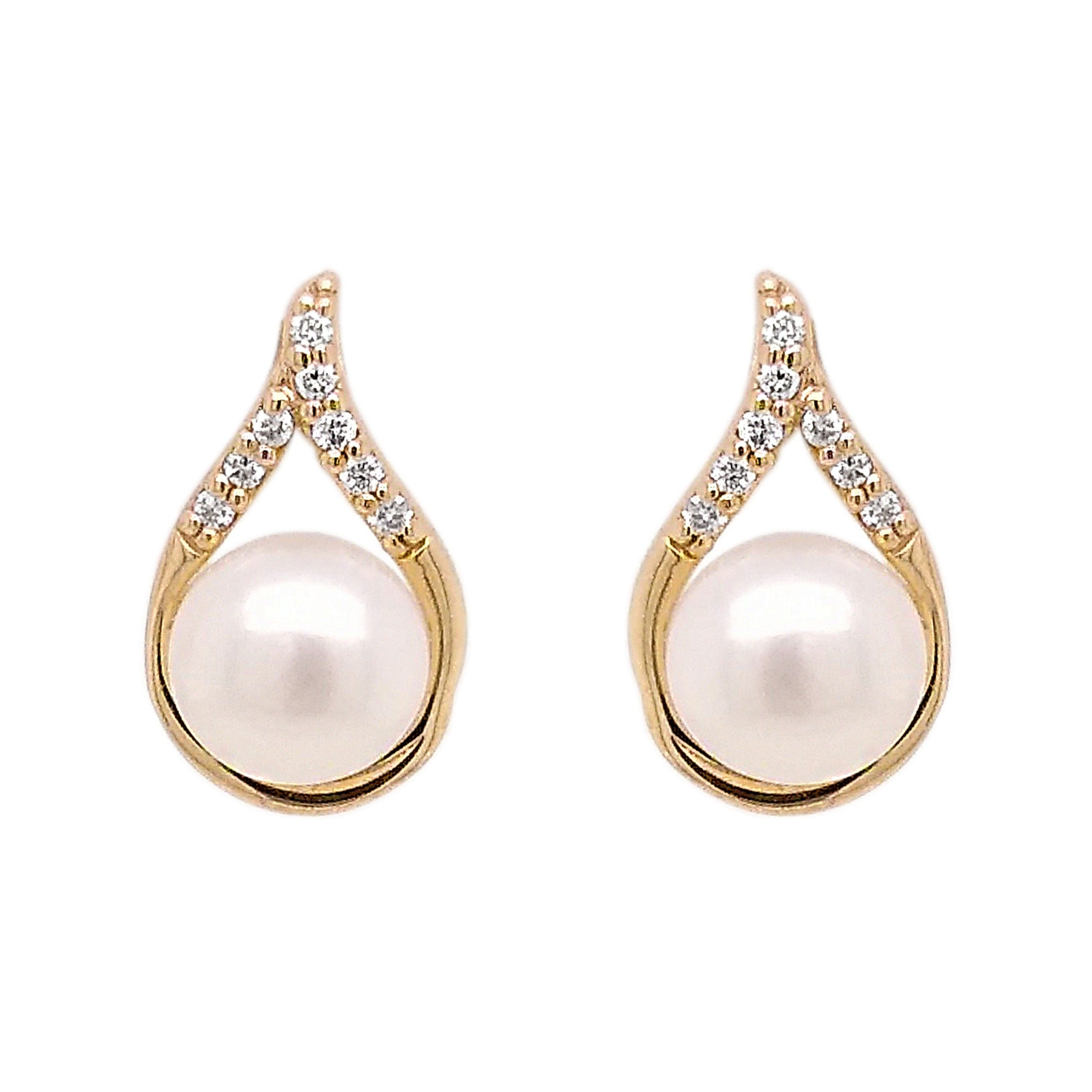 9ct Yellow Gold Teardrop Freshwater & Diamond Earrings