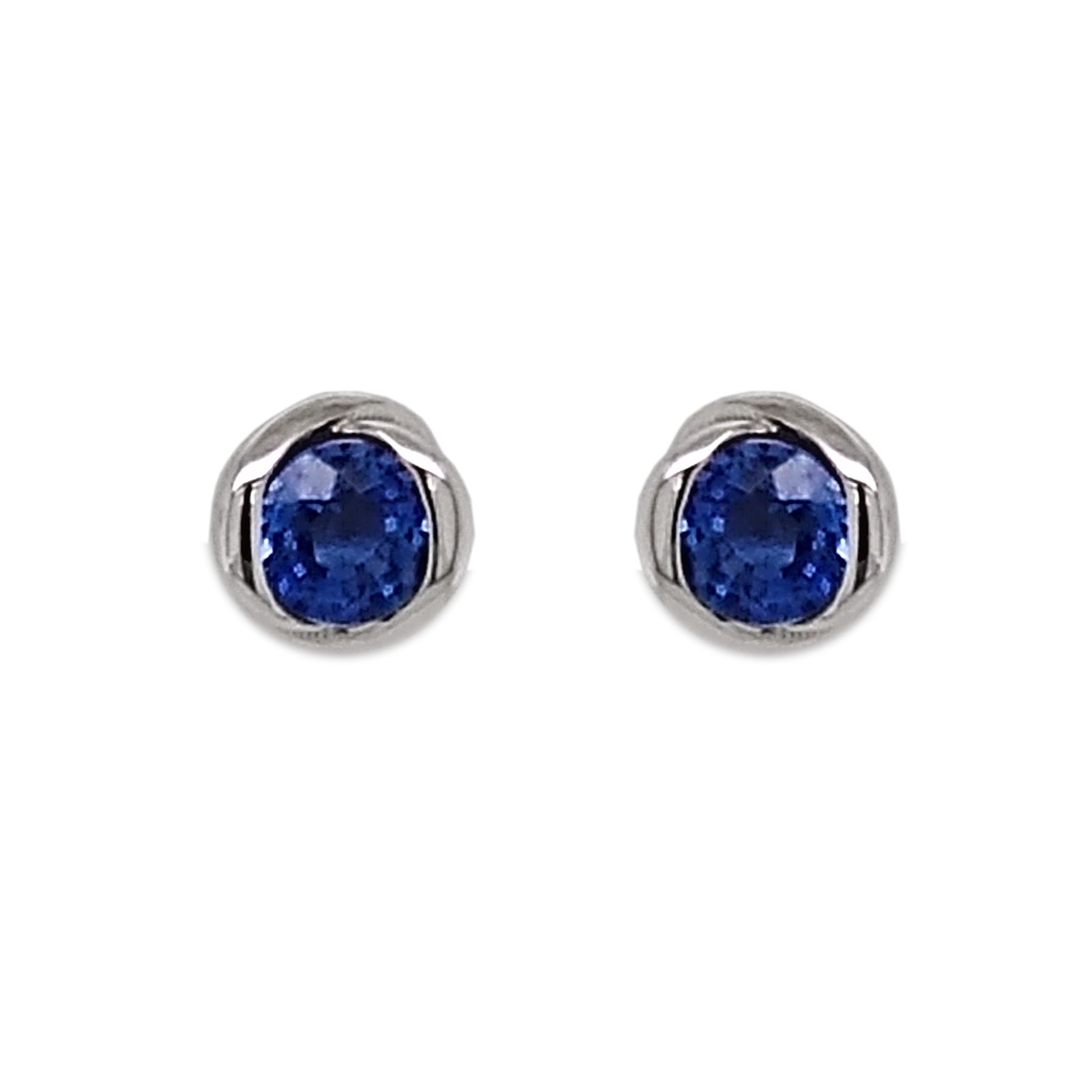 18ct White Gold Sapphire Rosebud Earrings
