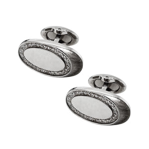 Steel & CZ 3D Ellipse  Cufflinks