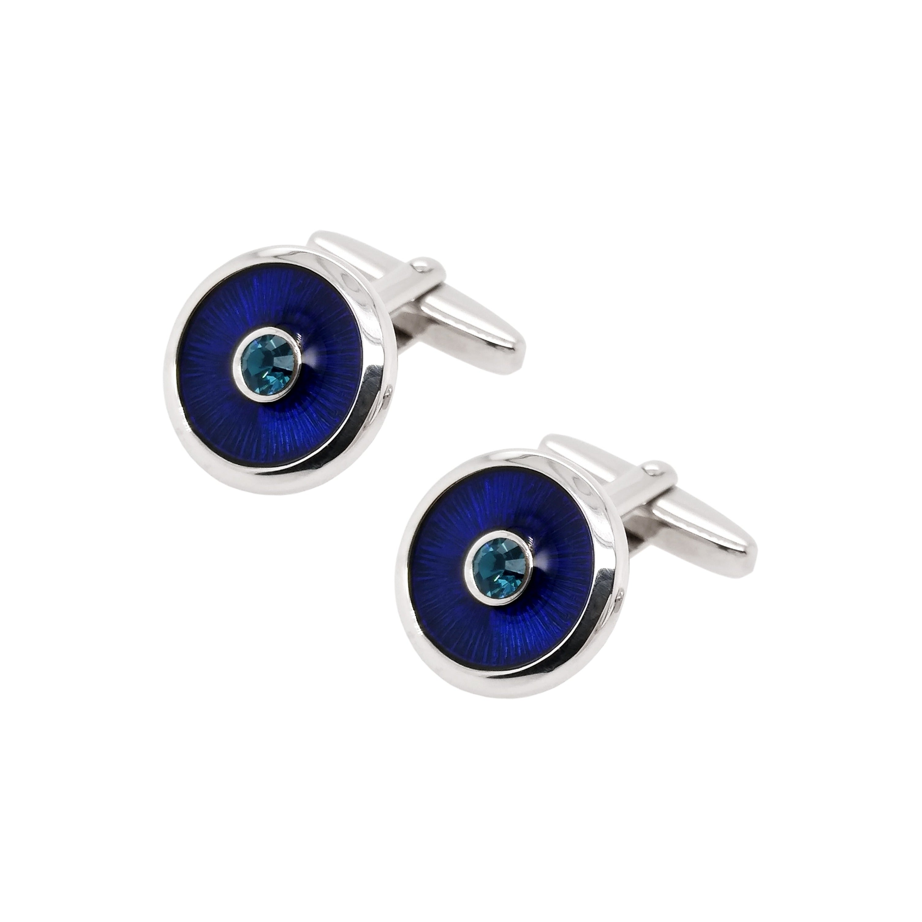 Silver Round Blue Stone & Blue Topaz Lacquered Cufflinks