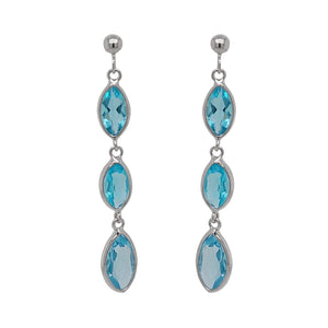 9ct White Gold Marquise Blue Topaz Drop Earrings