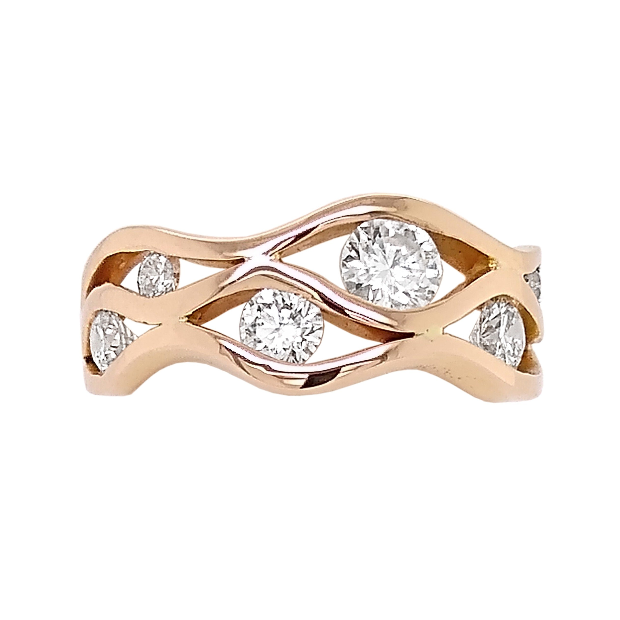 18ct Rose Gold Diamond Wave Ring