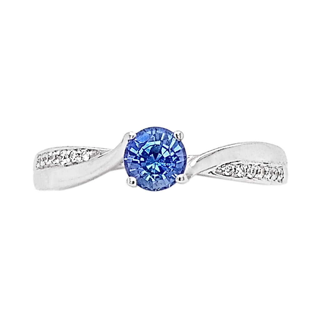 18ct White Gold Sapphire & Offset Pave Diamond Ring