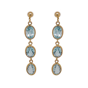 9ct Yellow Gold Oval Blue Topaz Drop Earrings