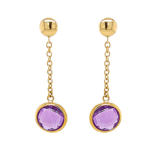 9ct Yellow Gold Checkerboard Amethyst Drop Earrings