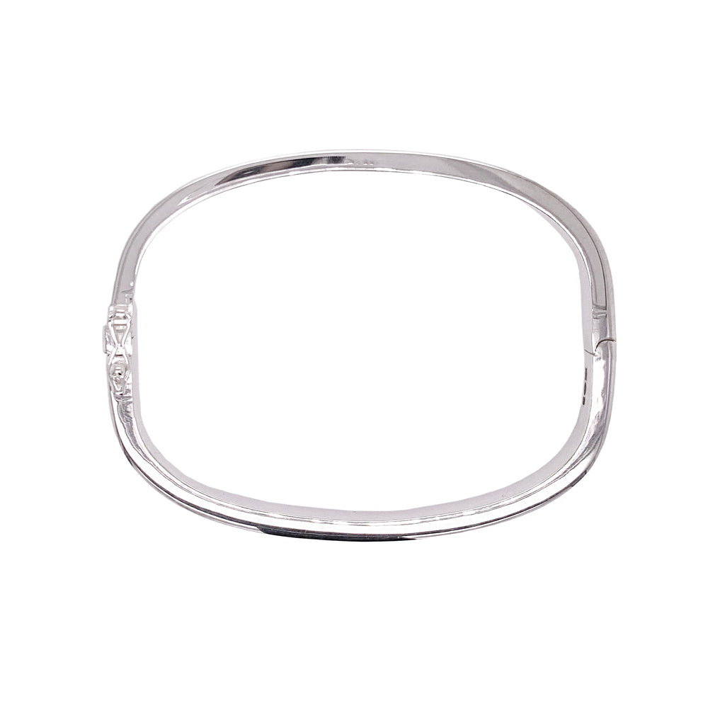 Silver QUAD Soft Square Hinged Bangle