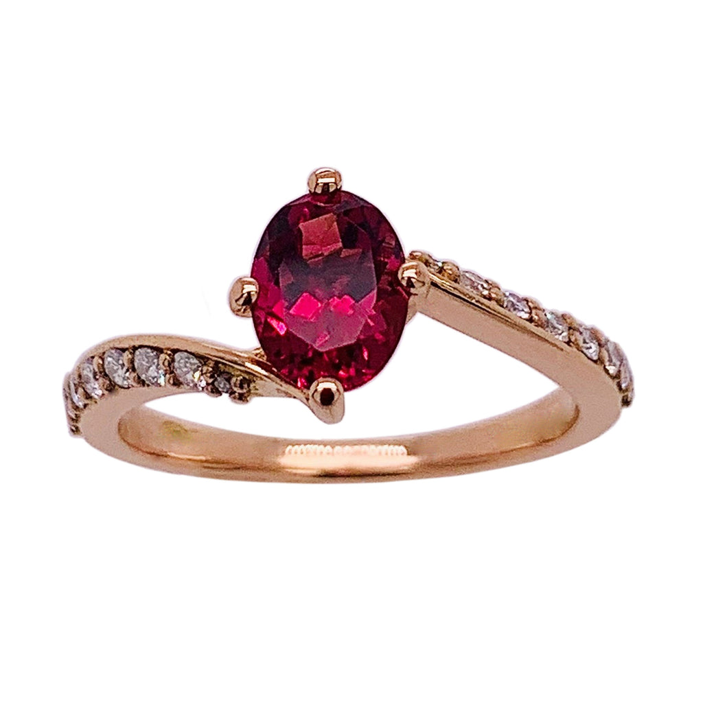 18ct Rose Gold Rubelite & Diamond Ring