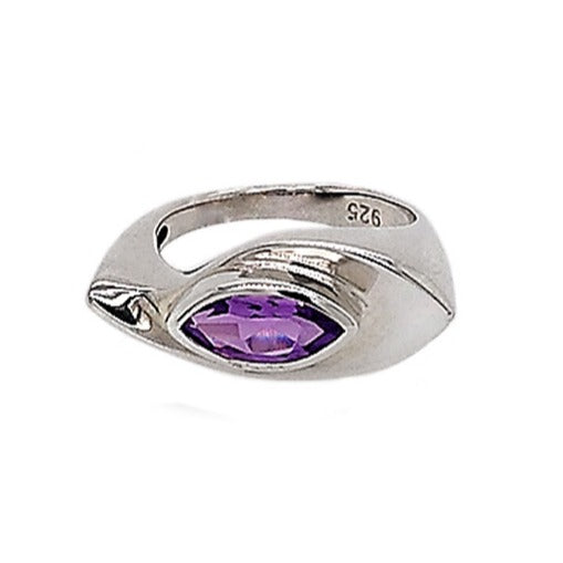 Silver Marquise Amethyst Tapered Ring
