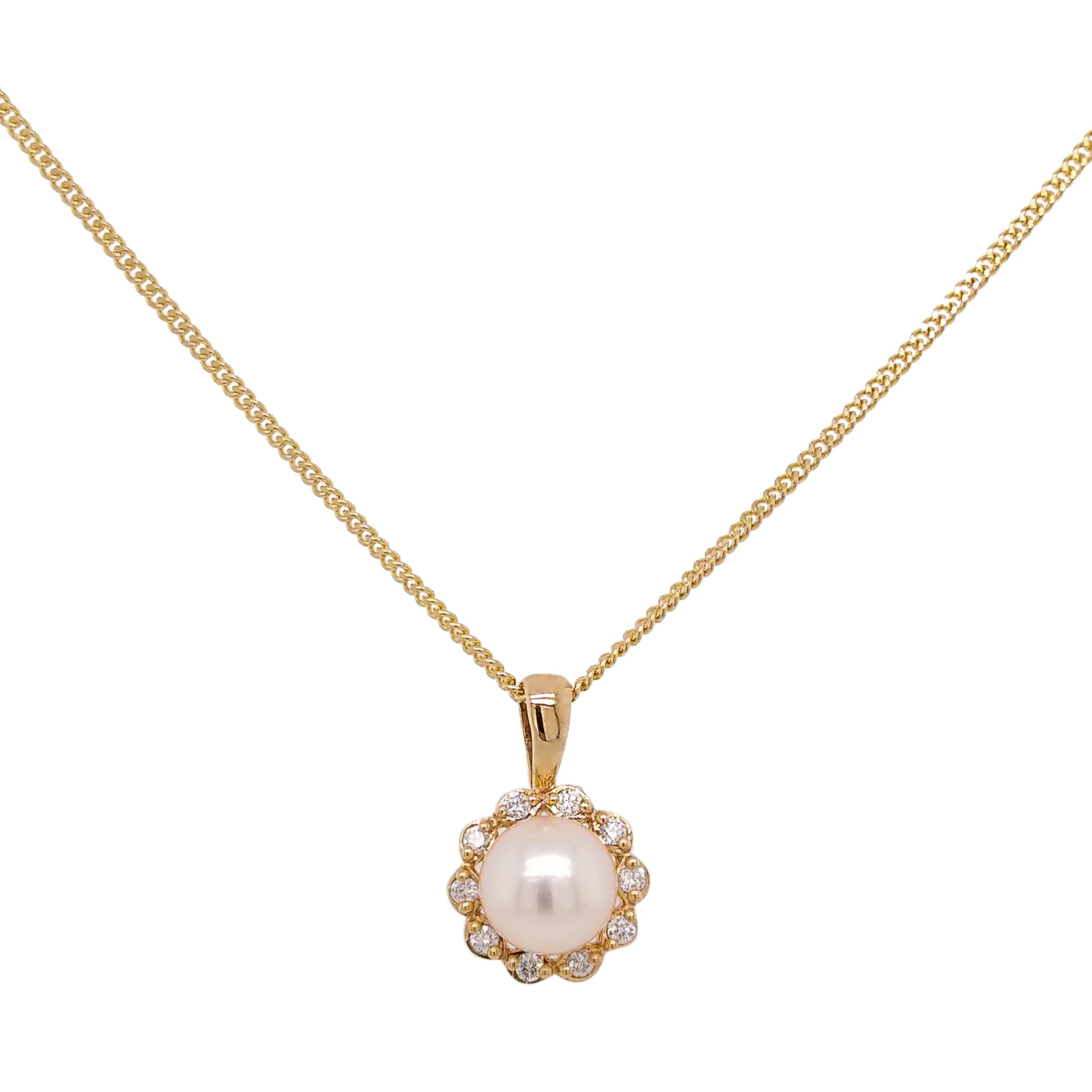 9ct Yellow Gold Pearl & Diamond Flower Pendant & Chain