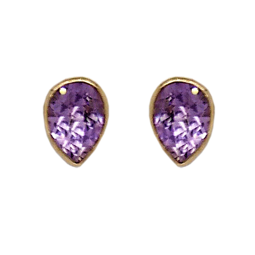 9ct Yellow Gold Teardrop Amethyst Stud Earrings