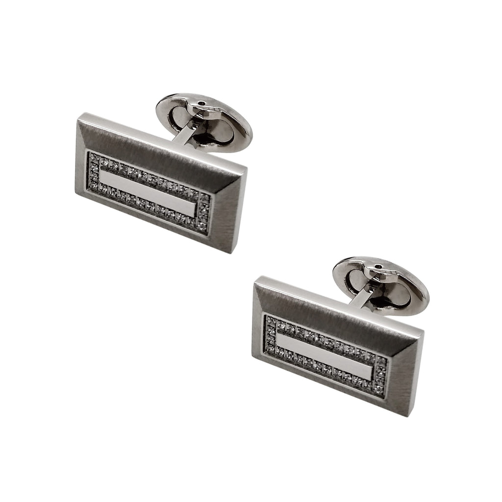 Steel & CZ Rectangle Cufflinks