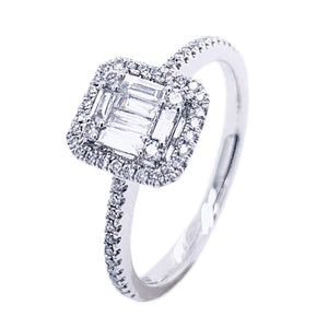 Platinum Multi Diamond Halo Ring