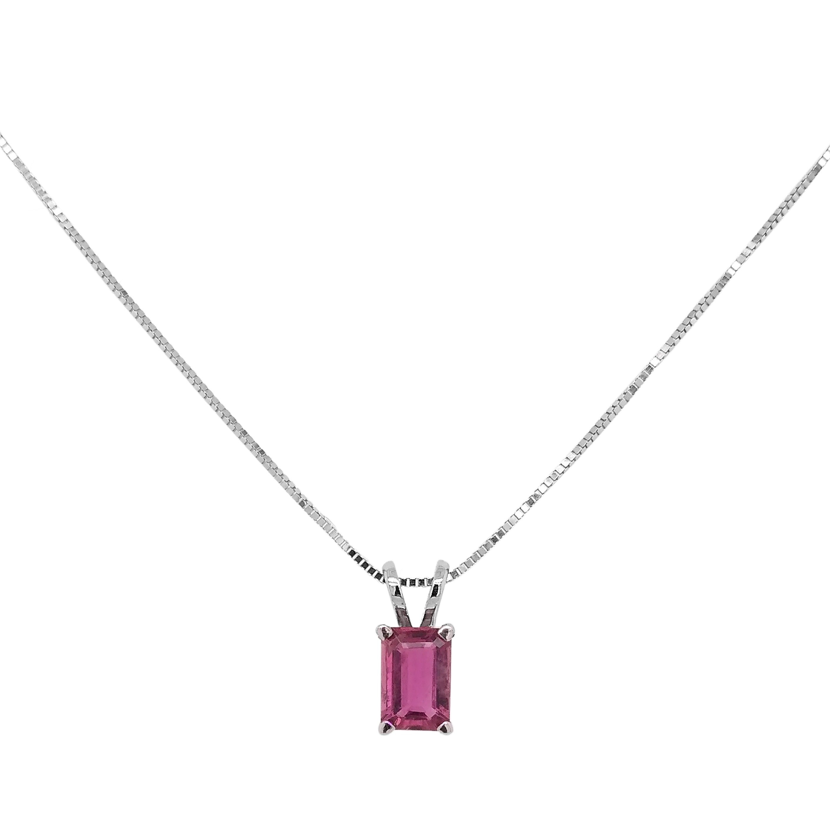 18ct White Gold Pink Tourmaline Pendant & Chain