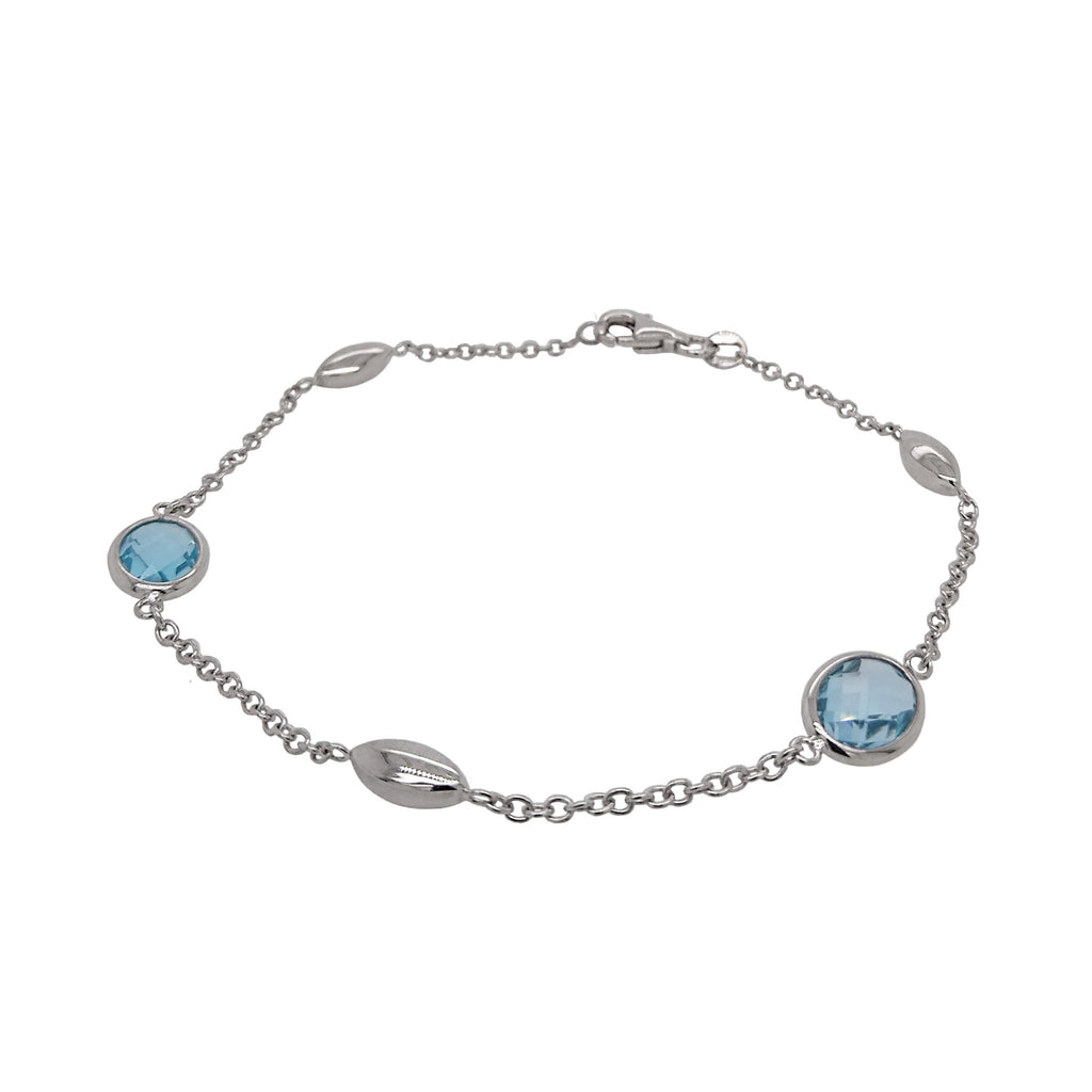 9ct White Gold Oval Blue Topaz & Marquise Bead Bracelet