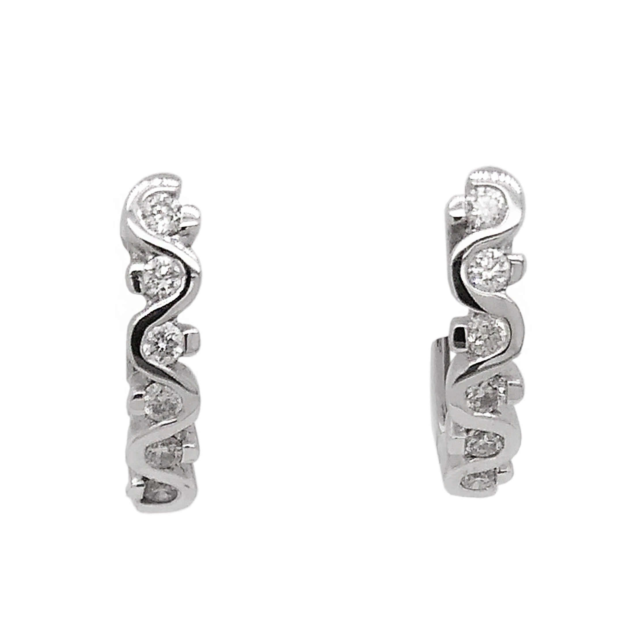 18ct White Gold Diamond Wave Hoop Earrings