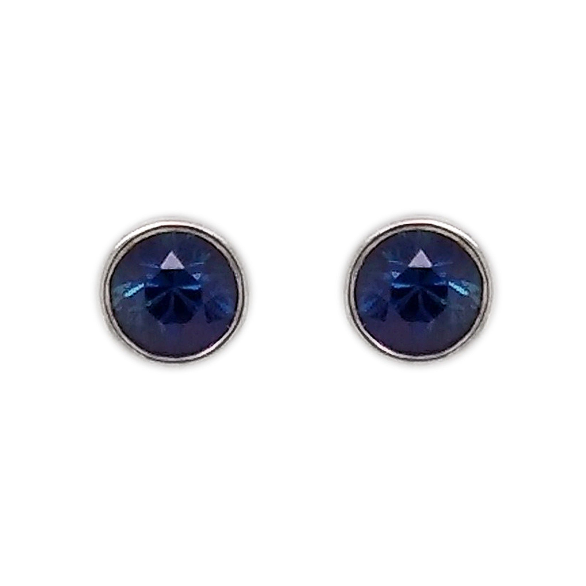 18ct White Gold Sapphire Cabochon Earrings