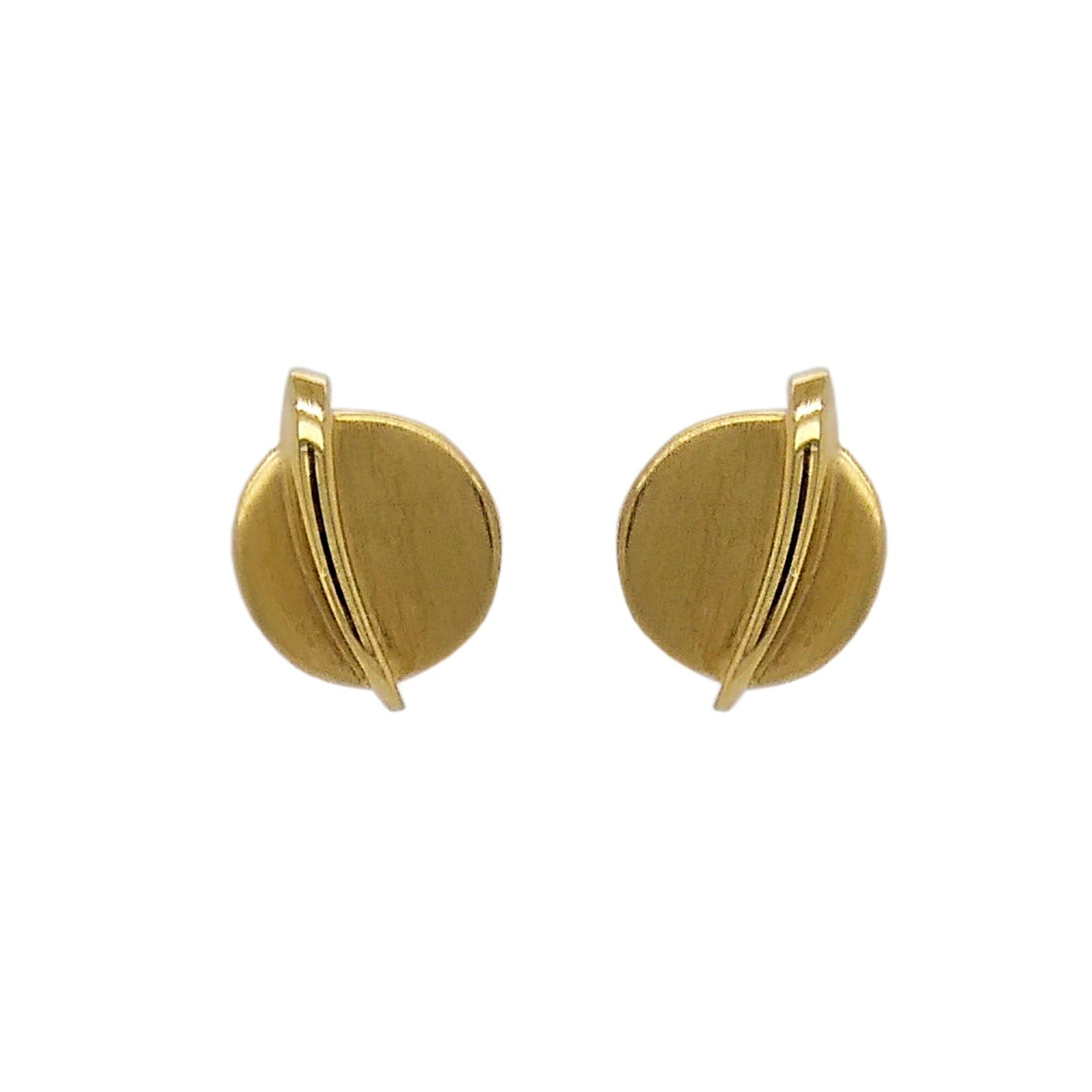 9ct Yellow Gold Disc & Bar Earrings