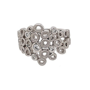 Silver Rhodium Plated Cubic Zirconia Bubble Ring