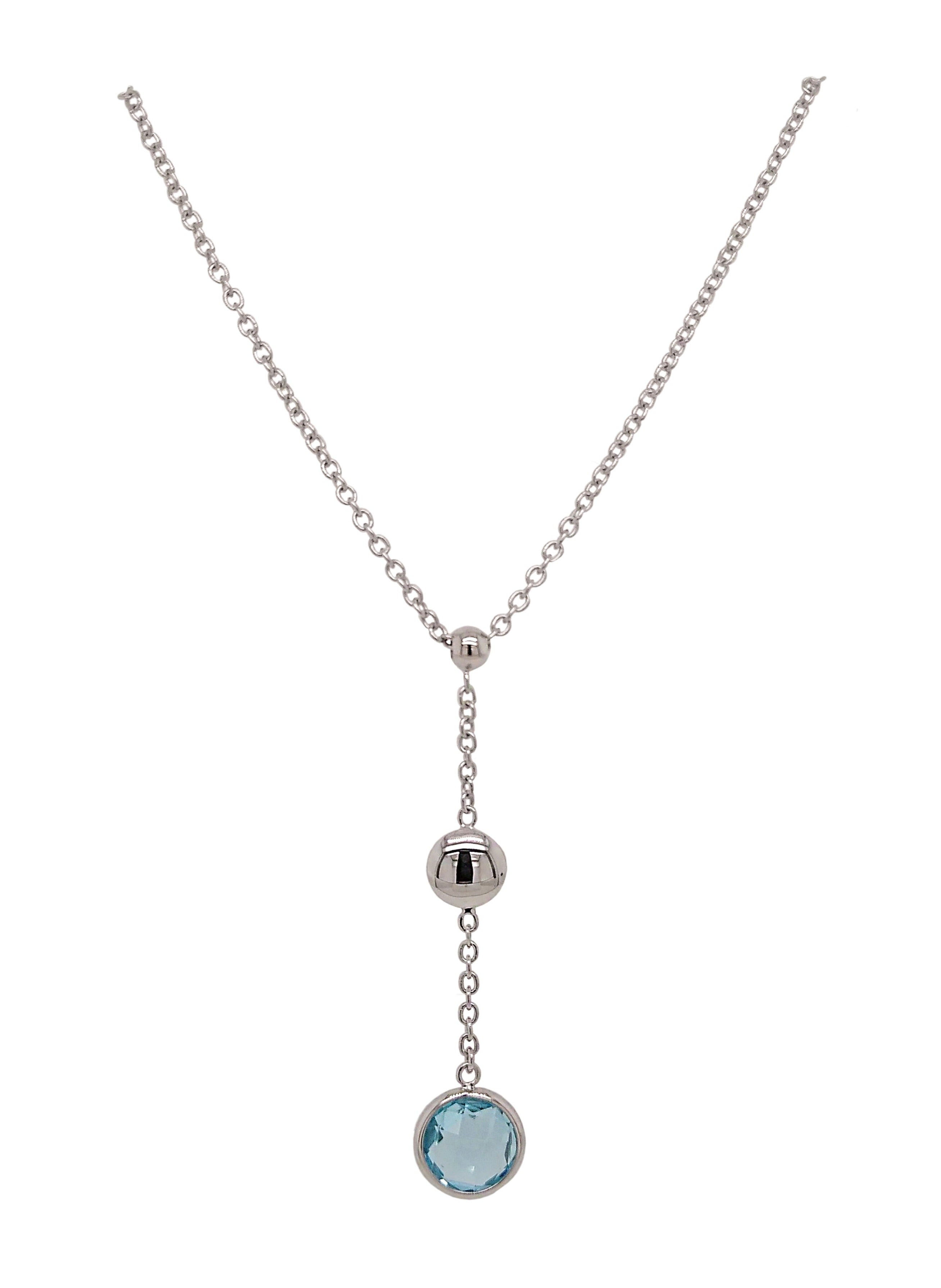 9ct White Gold Blue Topaz & Bead Drop Necklace